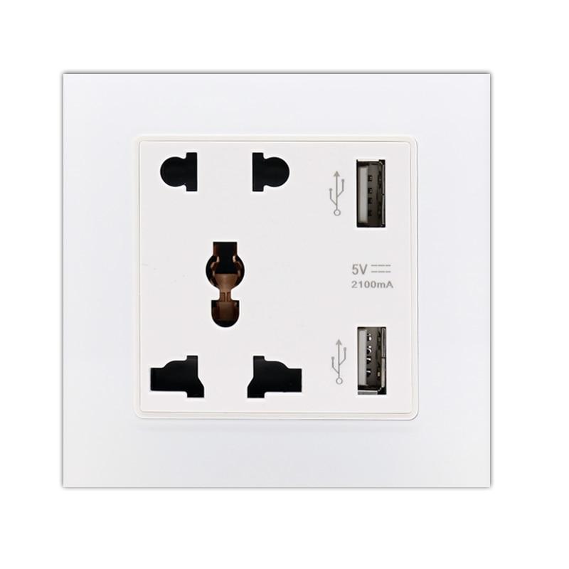 Enchufe de toma de corriente de pared con Panel de cristal de...
