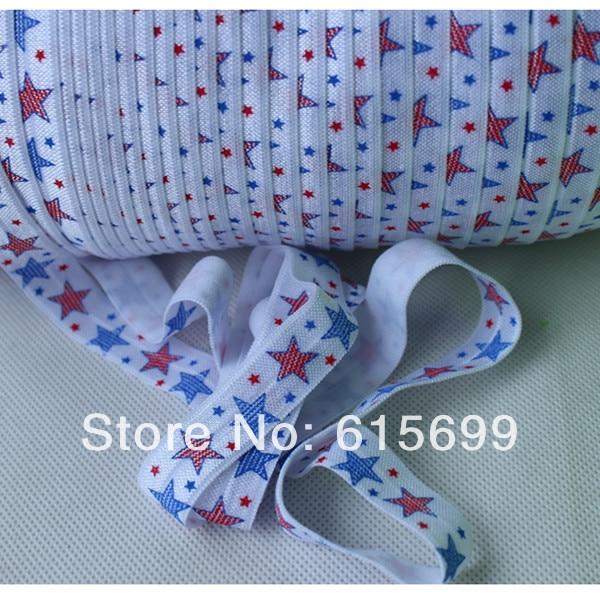 "5/8"" heat transfer FOE, star blue and red Fold over elastic, 4th of July foe ribbon, welcome custom print!"