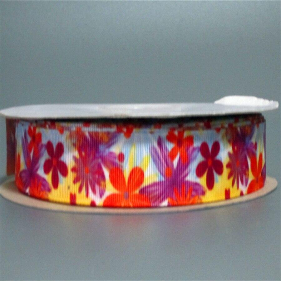 Pick Size 9 16 22 25 38 50 75 mm Width brand logo Ribbons floral Printed Grosgrain Ribbon Hair Bows R12