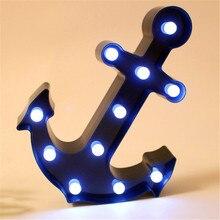 Chapiteau LED ancre éclairer belle flèche bleue signe avec 11 blanc chaud LED s Vintage noël barre rue décoration 25x33CM