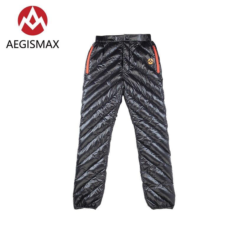 Aegismax adulto unisex esporte ao ar livre para baixo calças ultraleve ganso branco manter quente à prova dwaterproof água de acampamento inverno