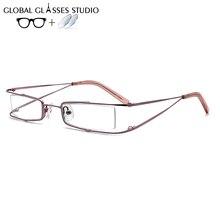 Women Metal  Glasses Frame Eyewear Eyeglasses Reading Myopia Prescription Lens 1.56 Index 200 SP1