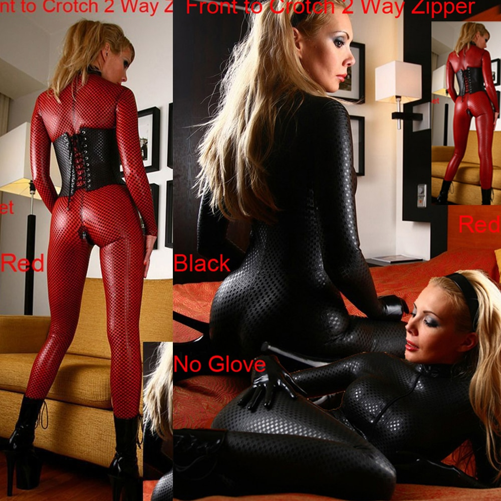 S-4XL Sexy Female Faux Leather Jumpsuit PVC Latex Catsuit Double Way Zipper Open Night Club Pole Dance Bodysuit