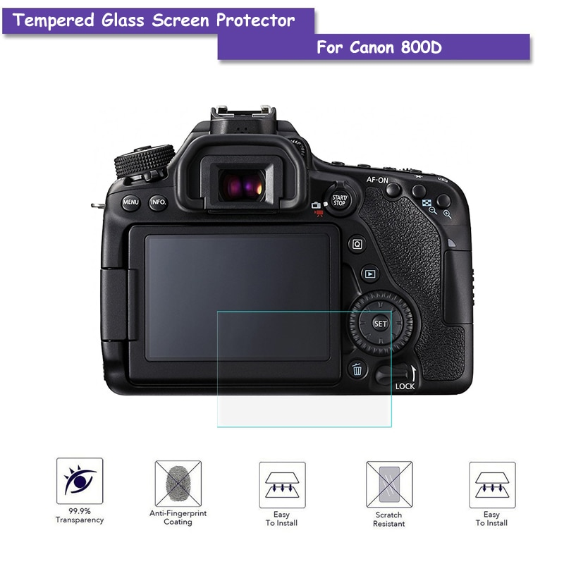 9H Hardness Premium Tempered Real Camera Glass LCD Screen Protector Shield Film For Canon 800D Accessories