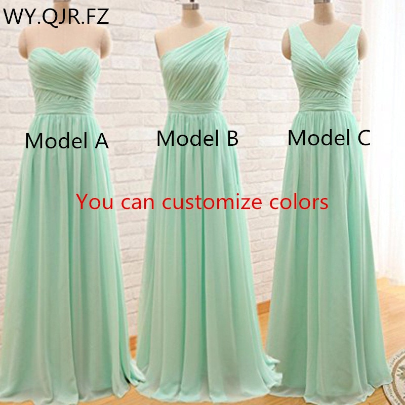 QNZL95#Custom Colors Long Bridesmaid Dresses Mint Green Chiffon Wedding Party Dress Party Gown Whole