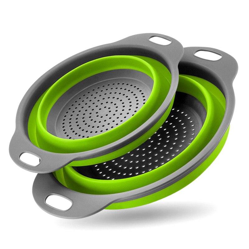 Juego de coladores plegables de 2 piezas de silicona para cocina, cestas cuadradas de frutas y verduras, coladores plegables, coladores de cocina, herramientas