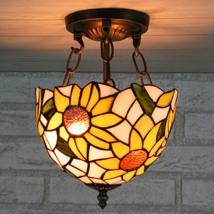 tiffany sun flower style hallway pendant light balcony Didifanni glass decorative ceiling lamp 8inch