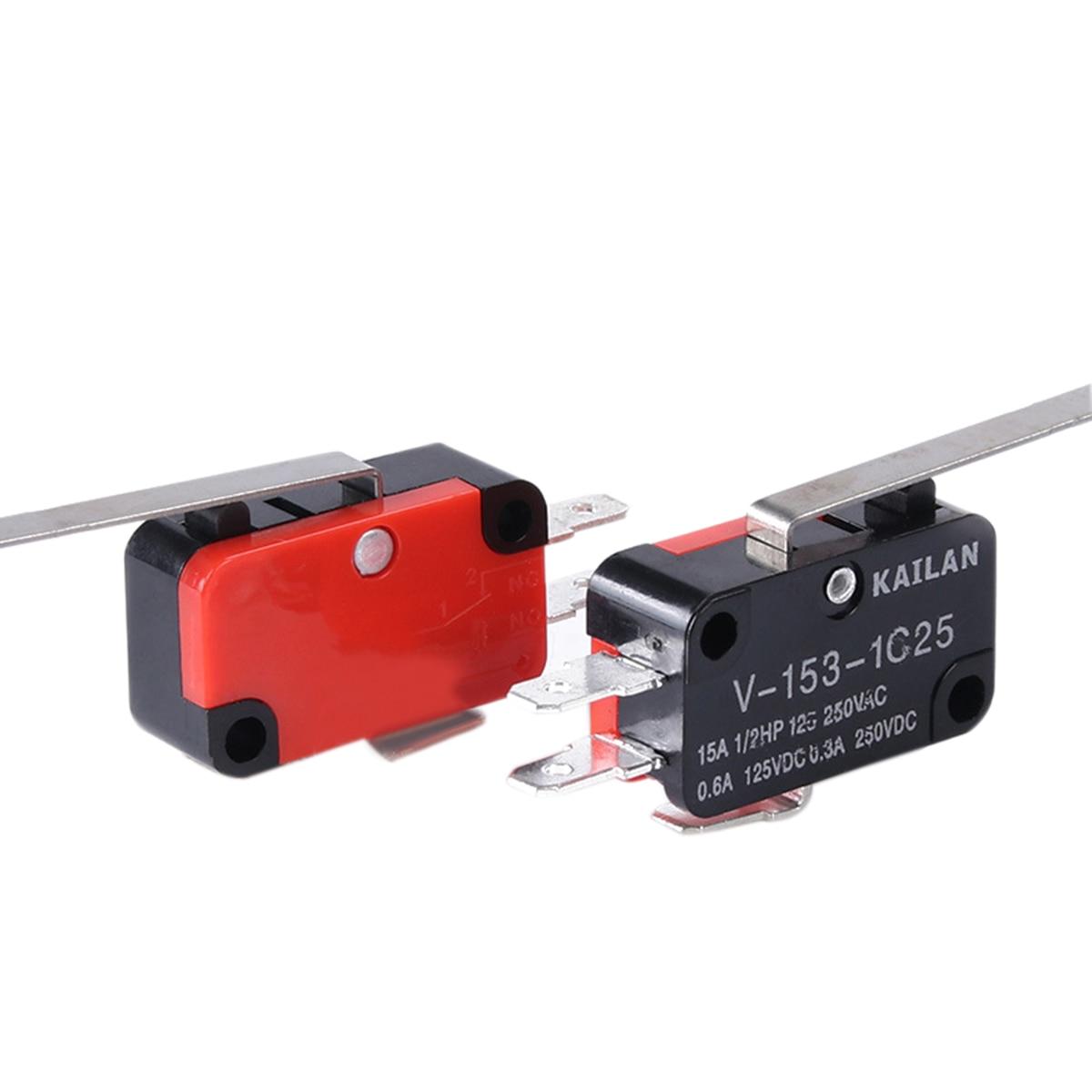 10 шт. V-153-1C25 выключатель Mayitr Высокоточный длинный концевой выключатель с прямым рычагом на шарнире типа SPDT микро-переключатели для электроп...