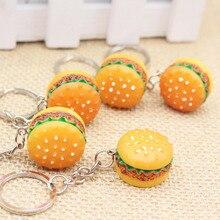 Original Creative Cute Hamburger Keychain Simulation Food Hamburger Pendant Key Ring Novelty Key Chain Christmas Birthday Gift
