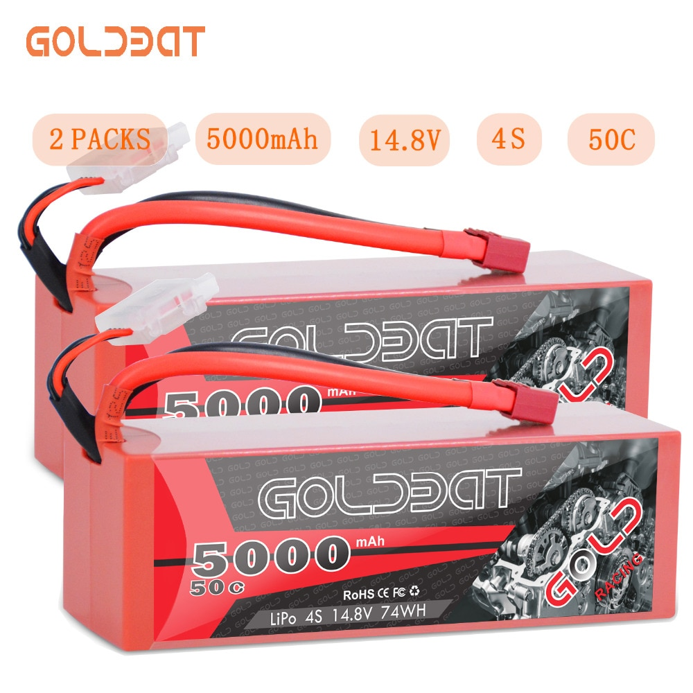 2 шт., аккумуляторная батарея GOLDBAT 5000 мАч 14,8 в для радиоуправляемого аккумулятора LiPo 4S 50C с разъемом Deans T & XT60 для радиоуправляемого грузовика-монстра