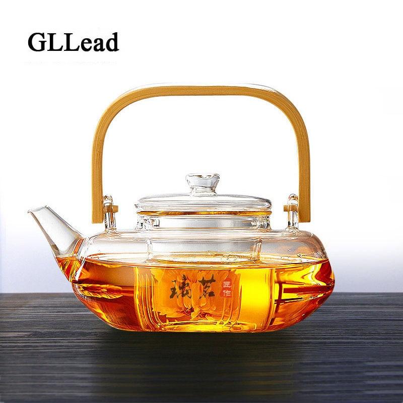 GLLead moda 800ml tetera de cristal resistente al calor juego de té de flores Puer tetera creativa con mango de bambú Teteras de vidrio con infusor