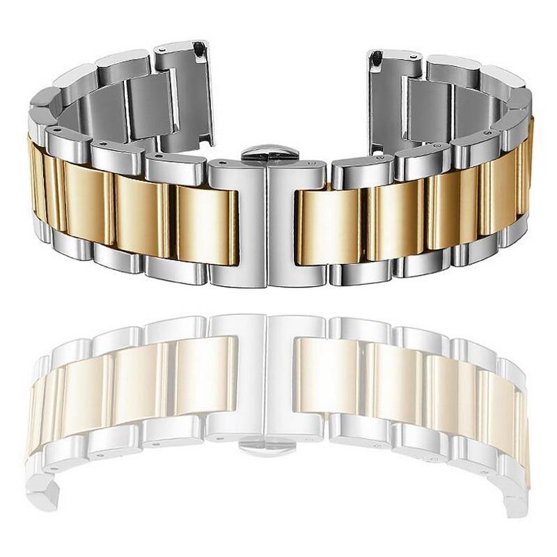 Купить с кэшбэком solid Metal Stainless Steel Watch band Strap Bracelet Watchband Wristband Butterfly Clasps Rose Gold 16mm 18mm 20mm 22mm 24mm