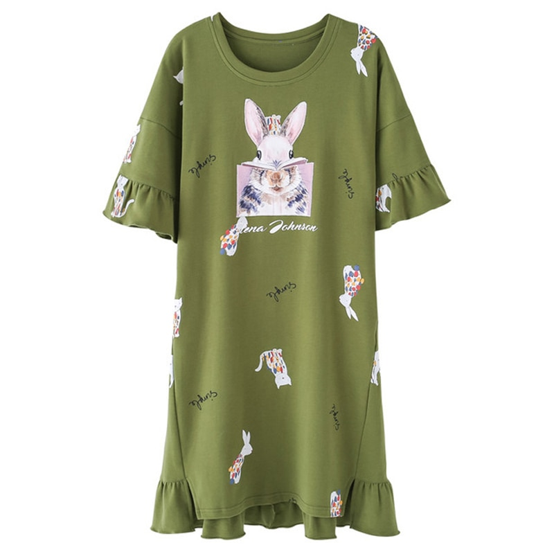 100% de algodón coreano verano bedgown camisón dulce de dibujos animados de manga corta Sleepshirts joven, las mujeres ropa de dormir camisón