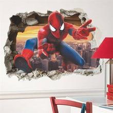 cartoon spiderman wall sticker decal for kids room 3d vivid  home decor children gifts
