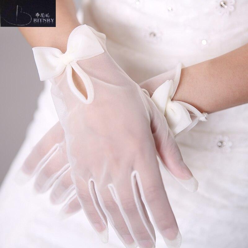 Heißer Verkauf Hochzeit Handschuhe Weiß Elfenbein Braut Handschuhe Für Hochzeiten Finger Bogen Hochzeit Zubehör