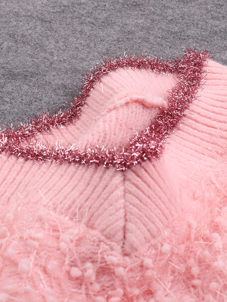 Women's Sweater V-Neck Autumn and Winter Pullover Tassel Tops Loose Kintted Sweater enlarge