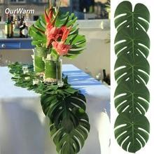 Ourwarm 열대 야자 잎 36 pcs 팜 리프 테이블 러너 크리스마스 하와이 풀 파티 laua 웨딩 리셉션 용품 장식