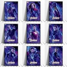 Avengers Endgame Iron Man Captain America Captain Marvel Thor  Hulk Black Widow Movie Poster Home Decor Wall Art Canvas Print
