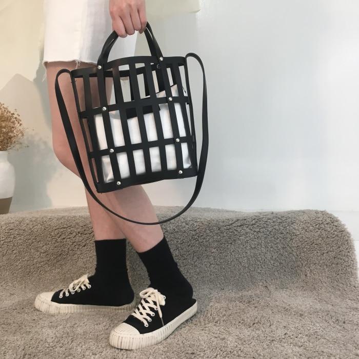 NIGEDU bolso de cubo hueco para mujer bolso de mano de marcas famosas PU bolso de hombro femenino 2019 nuevo bolso de playa para damas bolso de bolsas