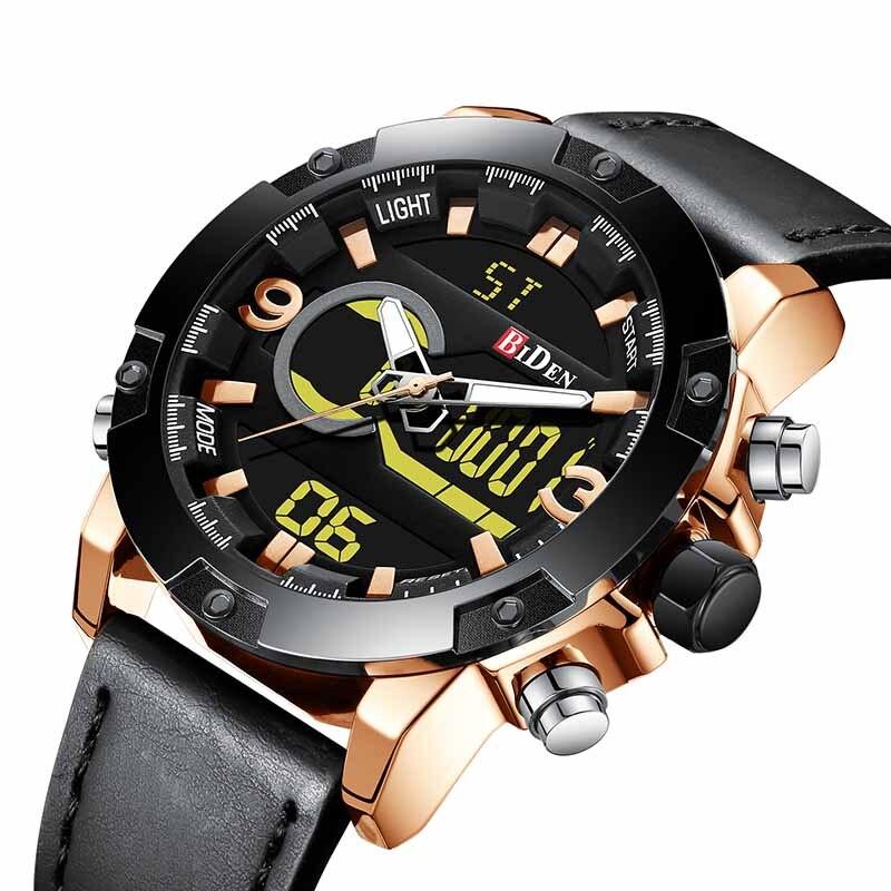 Relojes para hombre, relojes deportivos de cuero de marca de lujo para hombres, reloj Digital LED de cuarzo BIDEN para hombres, reloj de pulsera militar resistente al agua