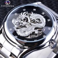 forsining fashion dragon design silver stainless steel diamond display mens automatic wristwatch top brand luxury montre homme
