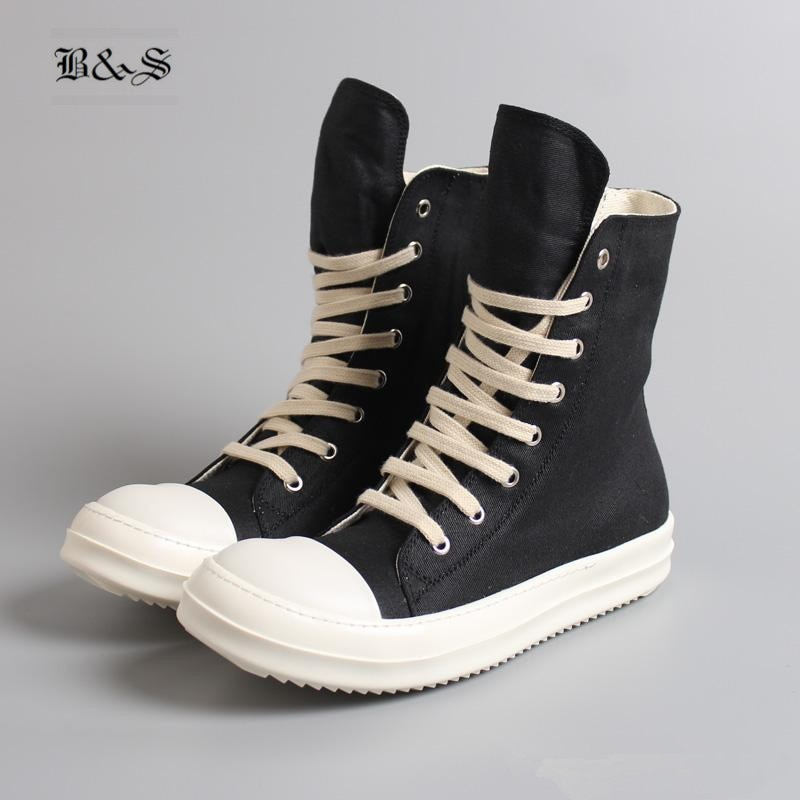 Black& Street 2019  Hip Hop Street Casual Rock Genuine Leather Wax Canvas Boots Cool Classic Lace Up Wax Canvas Flat Shoes