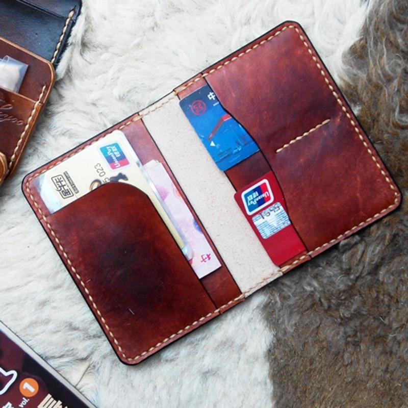 Cubierta de pasaporte de cuero genuino Cartera de Viaje Funda Vintage hecha a mano cubierta de pasaporte para documentos Protector de pasaporte