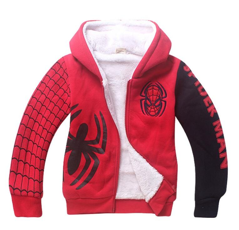 Sudaderas con capucha de lana de Spiderman para bebés, ropa de invierno cálida con dibujos animados para niños, sudaderas gruesas con capucha para niños