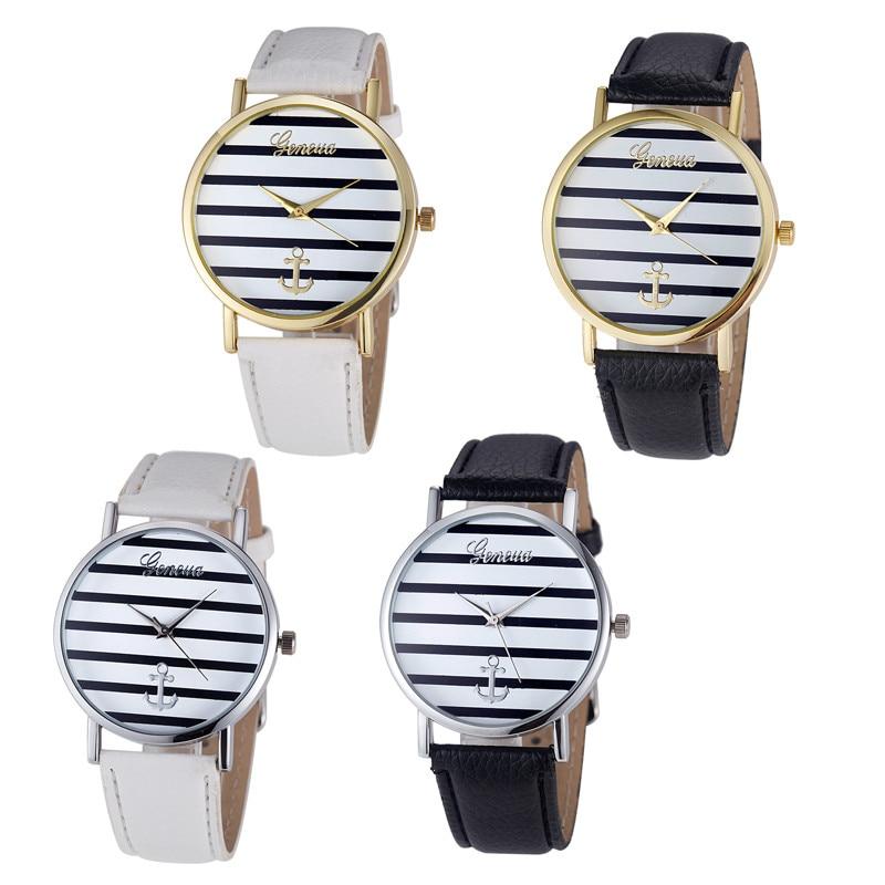 Relojes de pulsera de cuarzo de piel analógica con ancla rayada Geneva de lujo de la más alta marca 2019 para mujer, moda simple