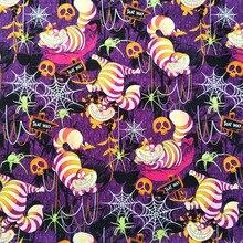Alice bonito sonho tecido de algodão alice em sonho gato impressão tecido de halloween retalhos costura material diy vestido de mulher roupas