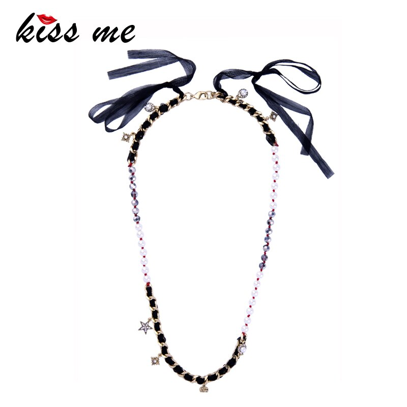 KISS ME collar largo étnico hecho a mano Cinta Negra perlas de imitación estrella mujer collar Retro Accesorios
