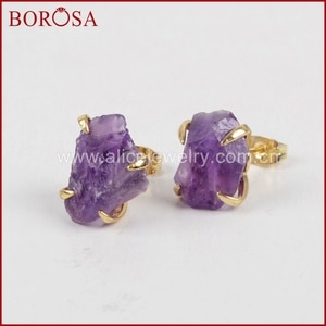BOROSA New Arrival Gold Color Rough Natural Purple Crystal Druzy Earrings Claw Setting Crystal Stone Stud Earrings Women ZG0134