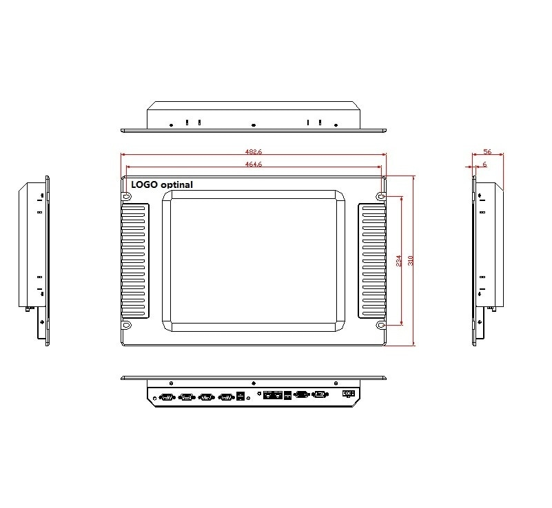 15 inch Rack Mount Panel PC, Core i3-4005U CPU/4GB RAM/64GB SSD, Inudstrial touch panel pc, 15 inch HMI