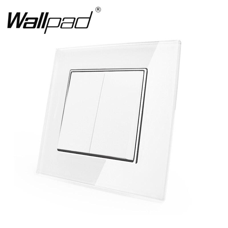 2-позиционный 1-позиционный Переключатель с зажимами Wallpad 110-250 В, белое закаленное стекло, европейский стиль, 2-позиционный настенный светиль...