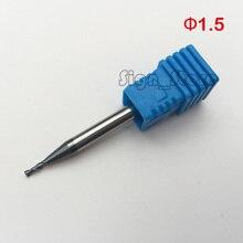 5 pcs 1.5mm 2 Flauta Tungstênio Carboneto De Aço CNC Router Bits Torno HRC55 Fresas Cortador Fim Moinho para Metal Corte 4mm de Comprimento