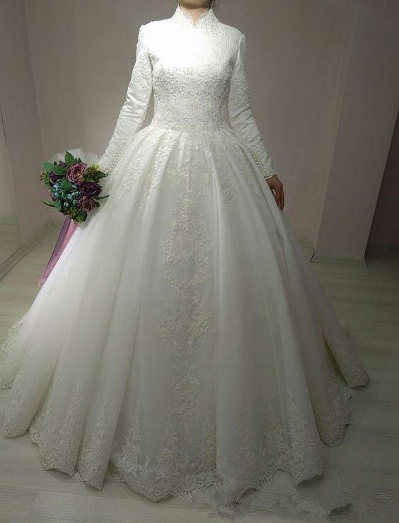 Bata De boda Vestido nupcial estilo árabe vestido islámico De manga larga árabe vestido De baile De encaje musulmán vestido De boda 2020