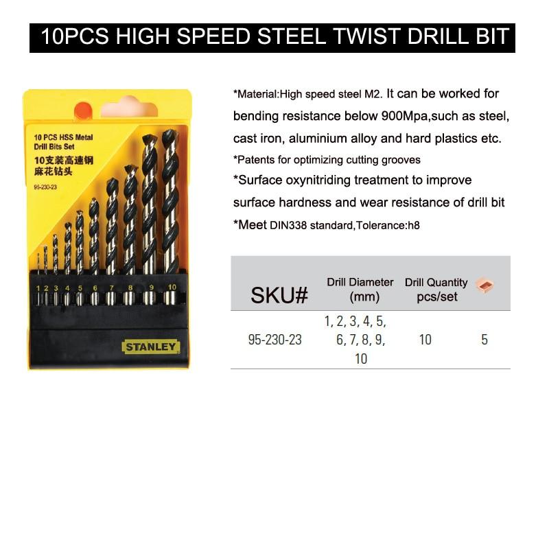 Stanley 10pcs multi-purpose self centering drill bits combination set 1mm to 10mm steel wood hole HSS twist drills multi-bit kit enlarge