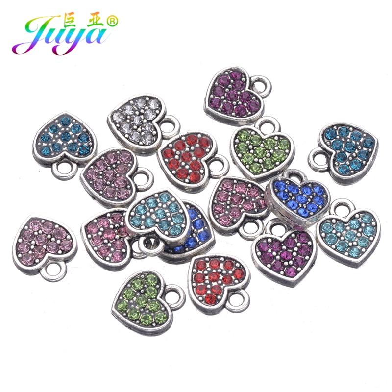 15 unids/lote tibetana Color plateado Cz diamantes de imitación corazón lindo encantos colgantes accesorios para mujeres niños Fabricación de la joyería DIY