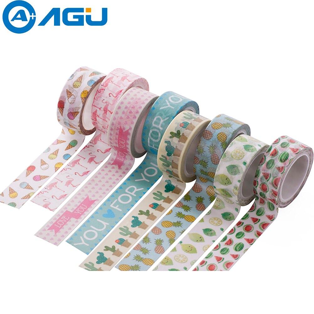AAGU 1 Unidad 15mm * 5m unicornio flamenco Washi cinta adhesiva de sandía cinta de papel escuela Oficina artículos decorativos cinta adhesiva