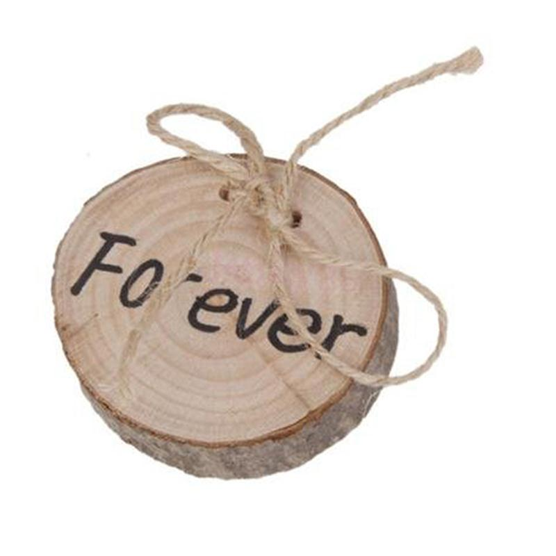 Siempre rústico Shabby Chic madera anillo portador almohada yute cuerda redonda boda favores fiesta decoración de boda con suministros