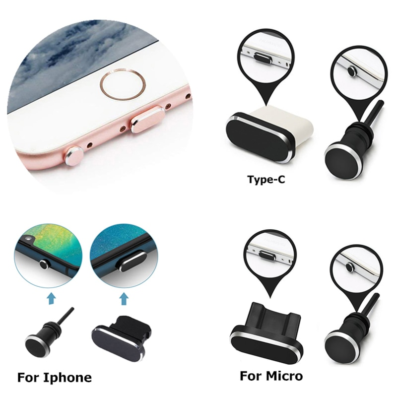 Dust Plug Set Type C Micro for Iphone 12 11 Pro XR XS X 8 7 6S 5 Mobile Phone Accessories Jack for A