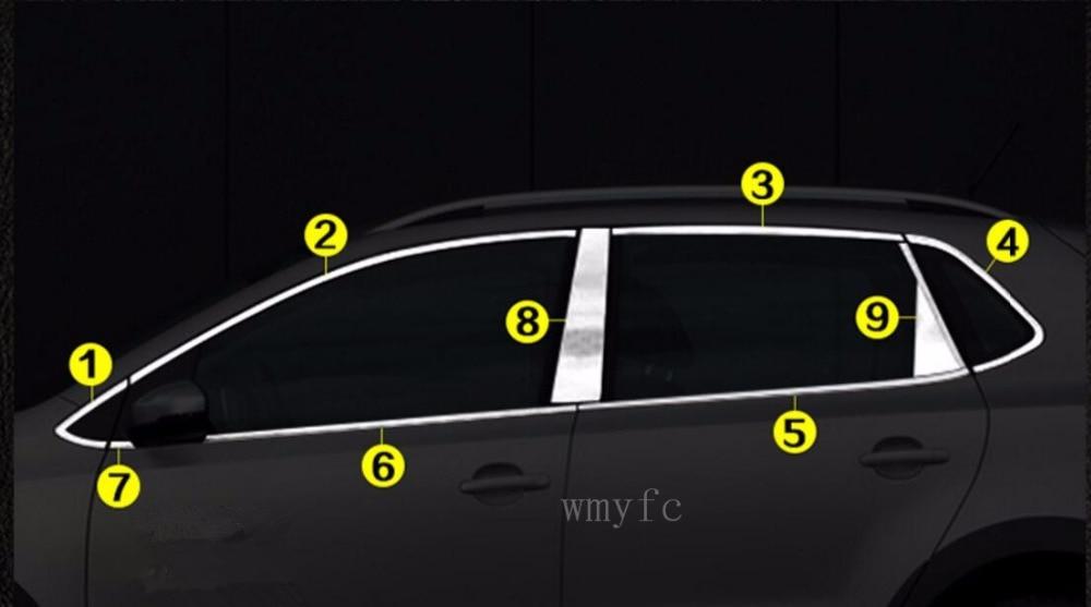 Roestvrij Staal Venster Trim Sticker Voor Vw Volkswagen Polo 2014 2015 2016 2017 Auto Window Frame Trim Pailletten Auto Accessoires