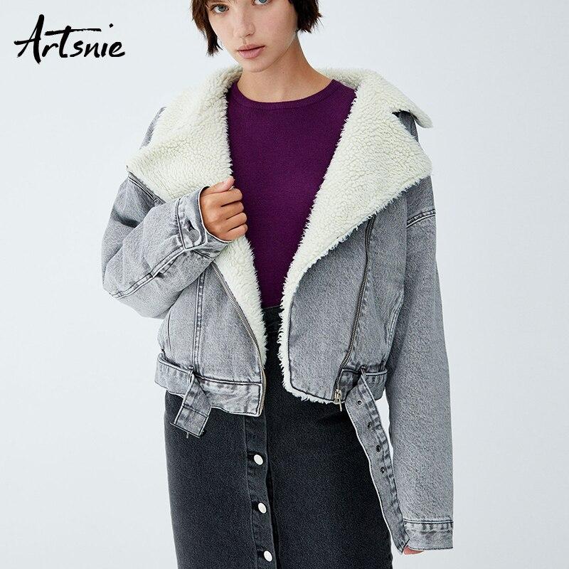 Artsnie otoño 2018 Faux Fur forrado chaquetas de mezclilla mujeres invierno Turn Down Collar fashes Casual caliente grueso niñas abrigos Chaqueta
