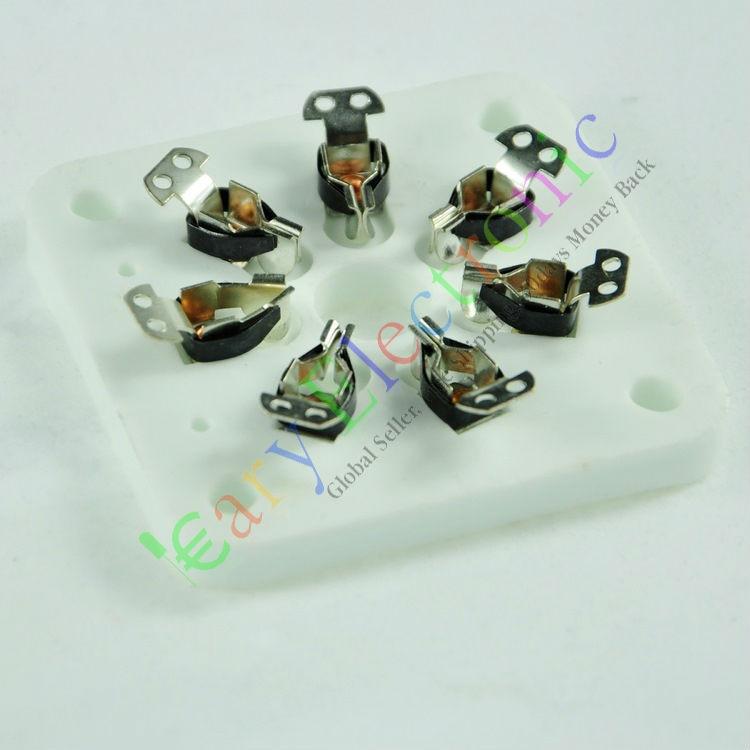 Wholesale and retail 2pc 7pin Silver Ceramic vacuum tube socket amps valve base 6C33 832 829 FU29 826 free shipping