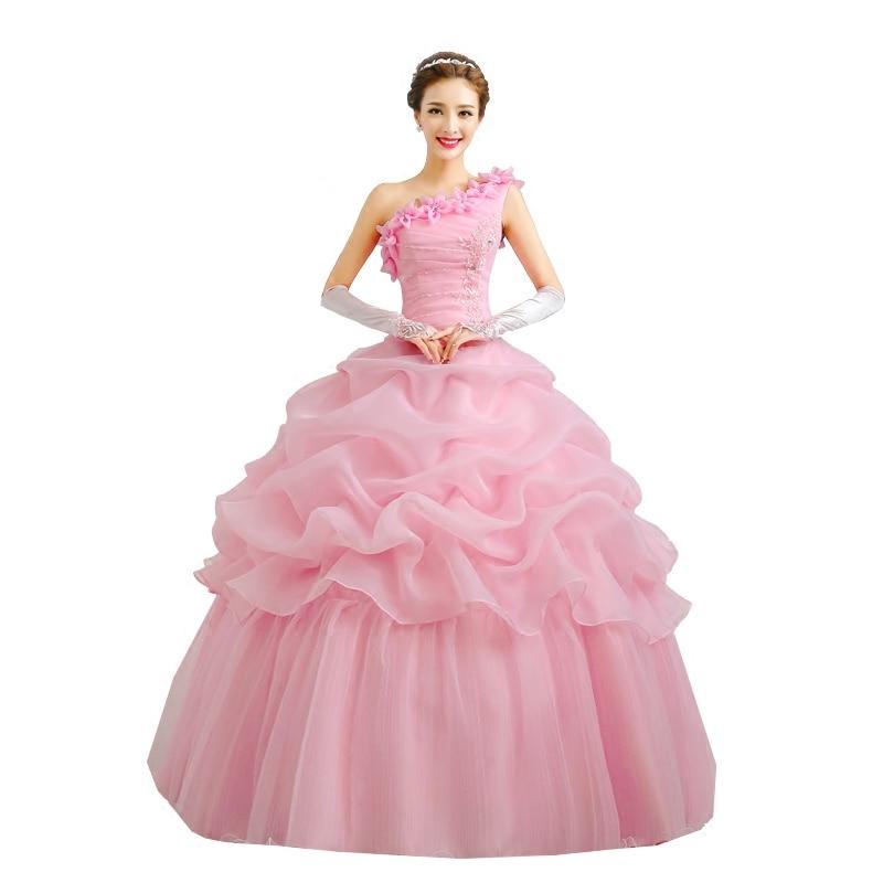 one shoulder pink prom dress 2020 vestido de noiva new style custom make free shipping