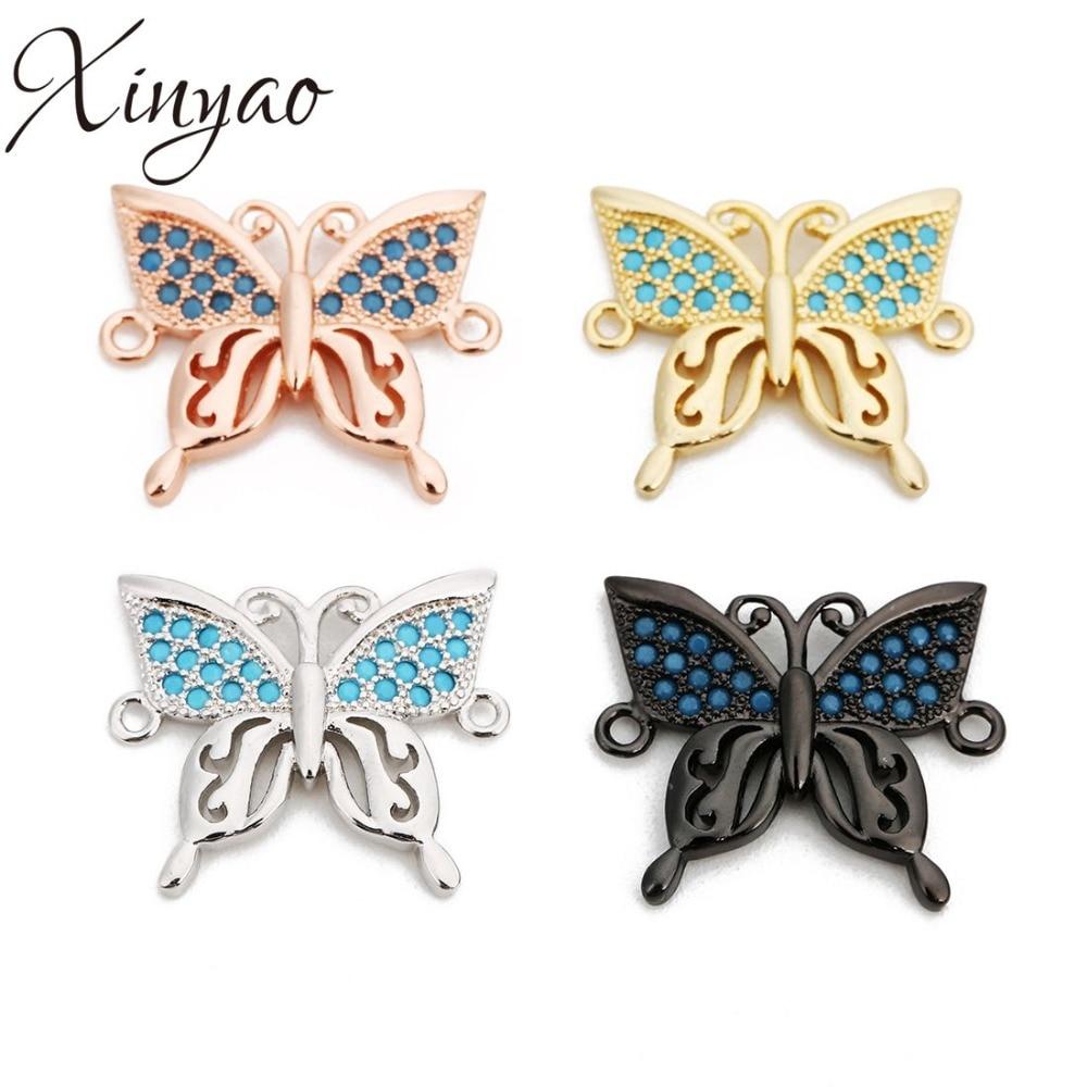 Xiyao 2 unids/lote Micro Pave CZ conectores de mariposa de cobre para DIY pulsera colgantes collar fabricación de joyas 20x17mm
