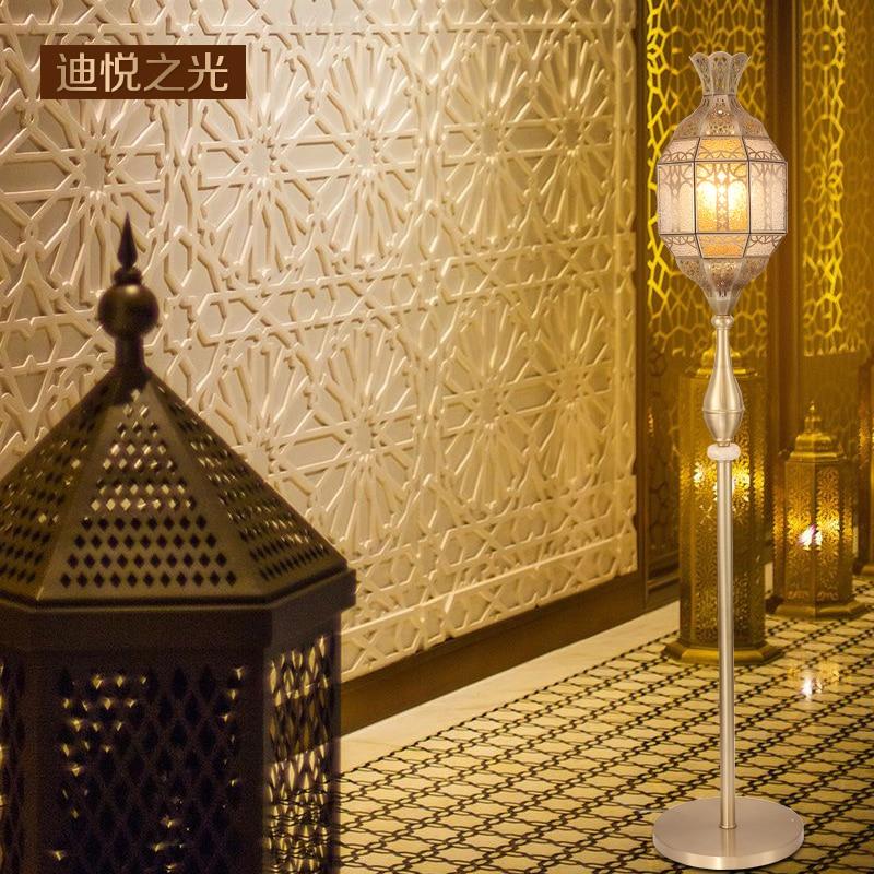 Led dorado árabe e14 bombilla de cobre de lujo lámpara de pie estilo antiguo europeo creativo Luz de suelo sala de estar restaurante iluminación