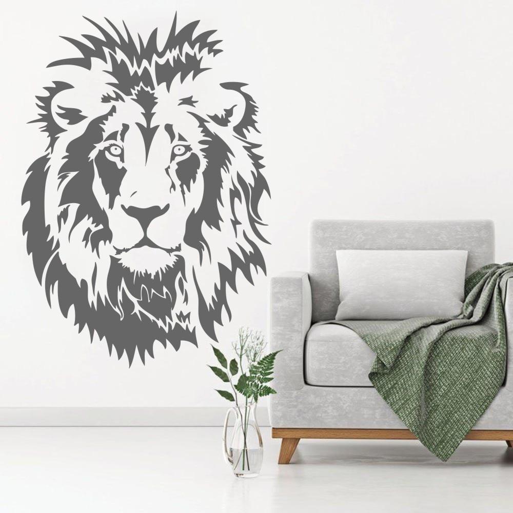 Голова льва детские настенные наклейки виниловая настенная наклейка с животным постером украшение для мальчиков Спальня Гостиная Офис Дом домашний декор WW-63