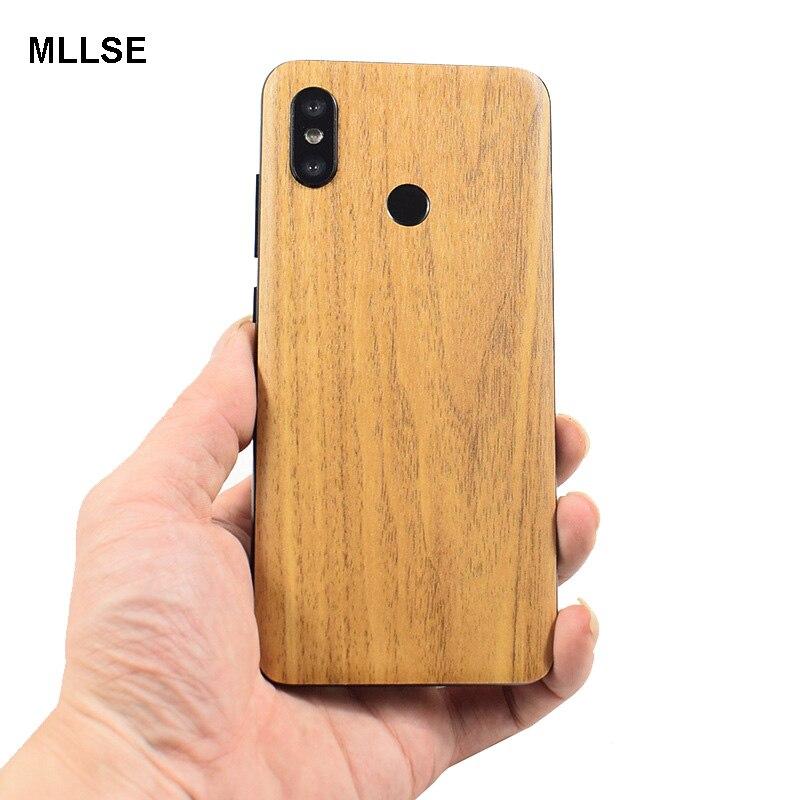 Alta simulação de grão de madeira adesivo telefone volta colar adesivo para xiaomi mi9/mix3/mi8 se/mi6x/mix2s/redmi k20 pro nota 5 pro 7 pro