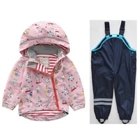 spring new boys and girls hooded jacket jacket childrens baby personality cartoon windbreaker tops pants